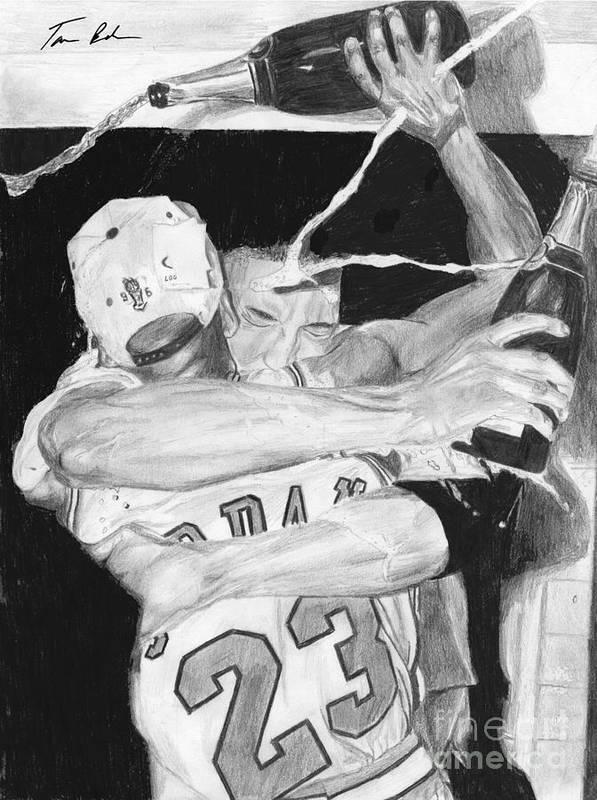 Chicago Bulls Art Print featuring the drawing Bulls Celebration by Tamir Barkan