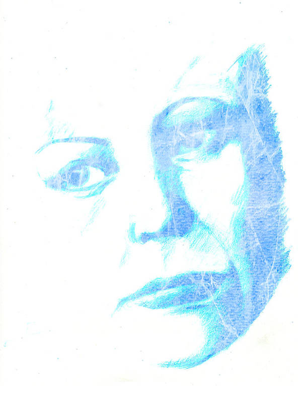Colored Pencils Art Print featuring the mixed media Ice In My Eyes And Eyes Like Ice Don't Move by Karen Clark