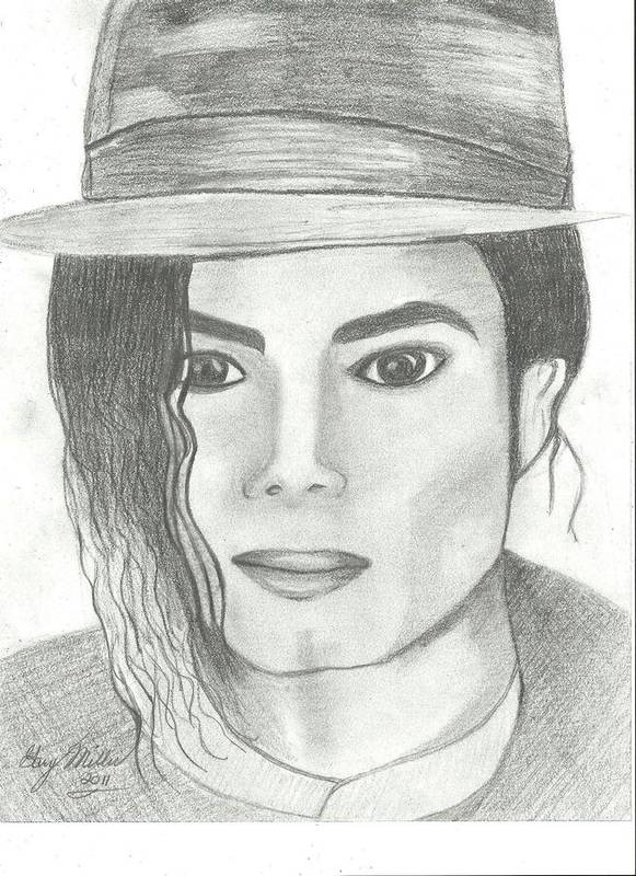 Mj Art Print featuring the drawing King Of Pop by Gary Miller