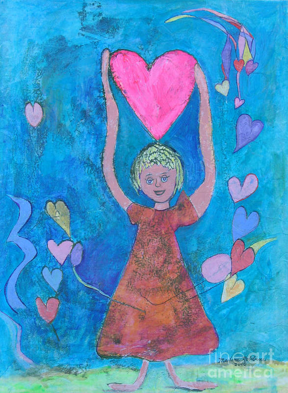 Love Art Print featuring the mixed media Love From Above by Marlene Robbins