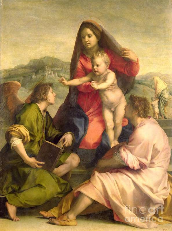 Jesus Print featuring the painting The Virgin And Child With A Saint And An Angel by Andrea del Sarto
