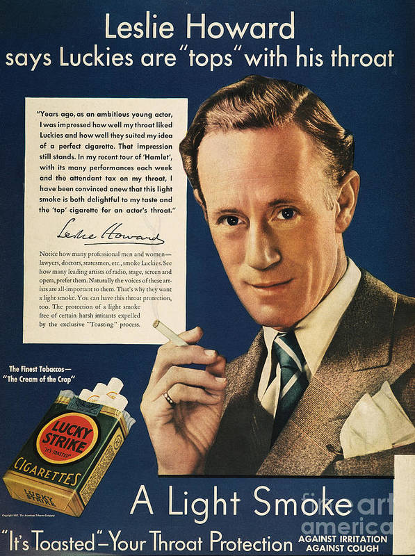 1937 Art Print featuring the photograph Lucky Strike Cigarette Ad by Granger