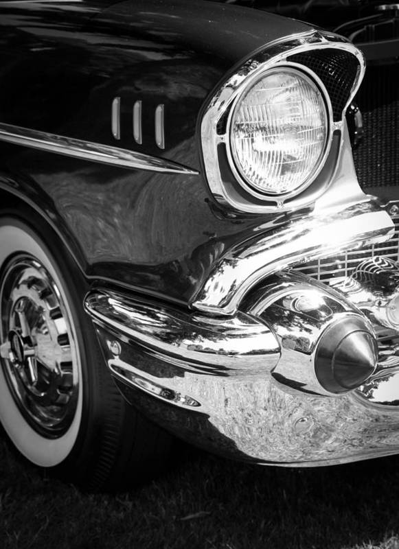 Black And White Art Print featuring the photograph 57 Chevy Black by Steve McKinzie