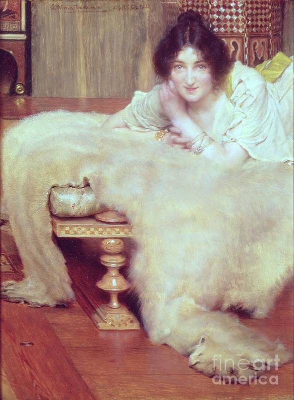 Listener Art Print featuring the painting A Listener - The Bear Rug by Sir Lawrence Alma-Tadema