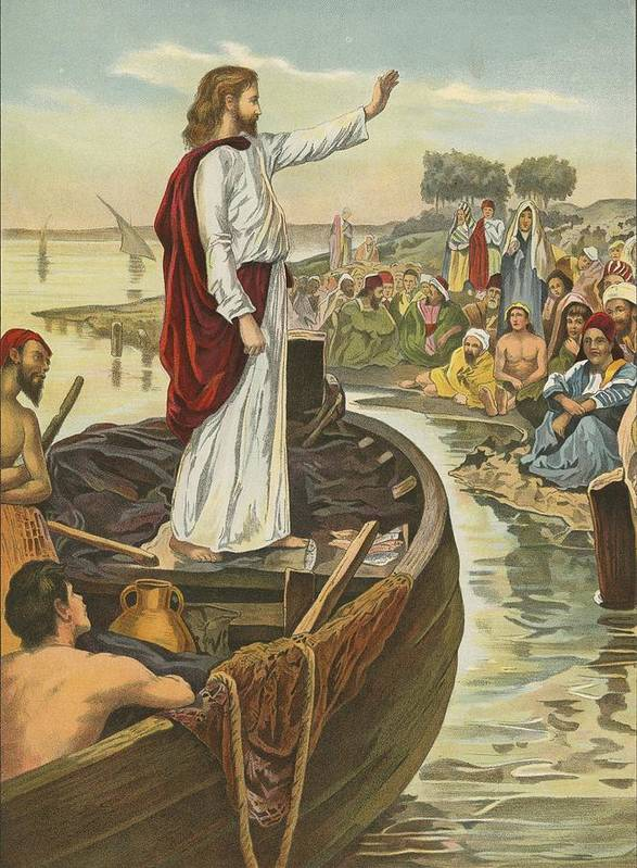 Bible; Children's; Jesus Christ; Sea; Sermon Art Print featuring the painting A Sermon by English School