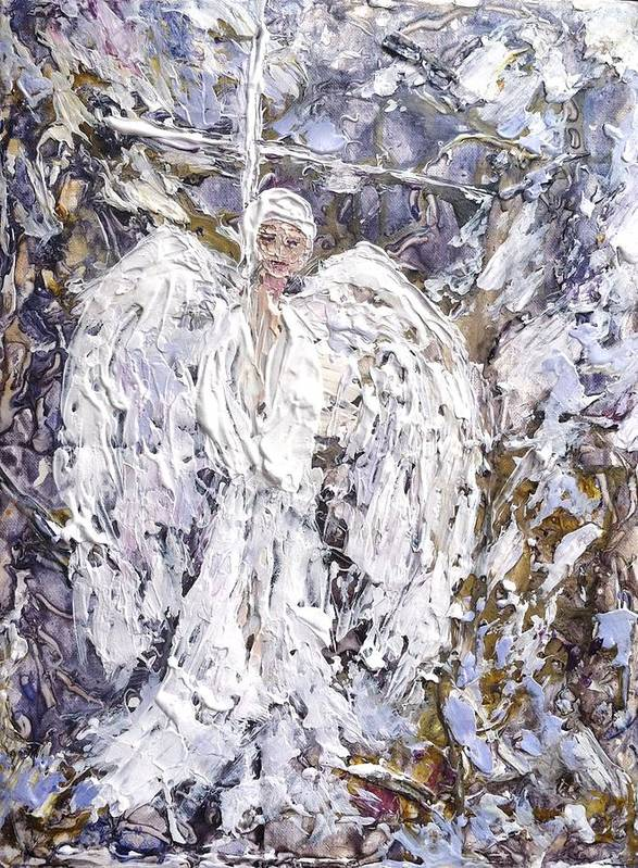 Spiritual Art Print featuring the painting Angel Of Hope by Helen Wendle