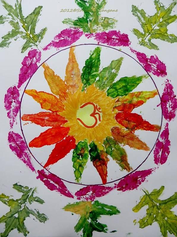 Radial Balance Print featuring the painting Autumn Chakra by Sonali Gangane