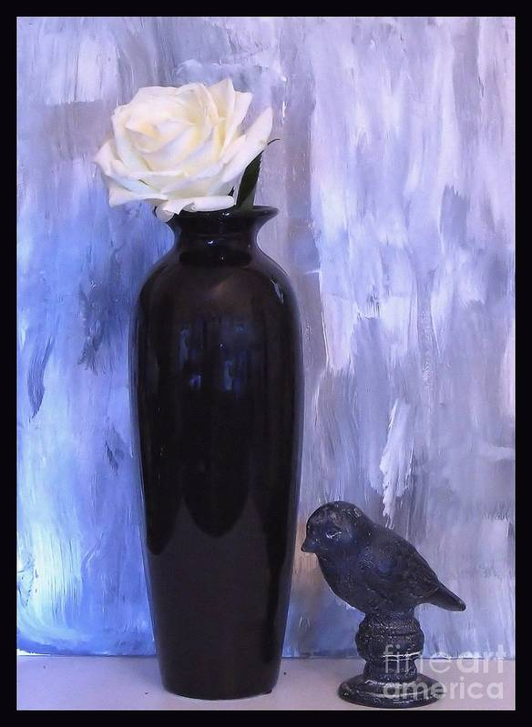 Photo Art Print featuring the photograph Birdie And The Rose by Marsha Heiken