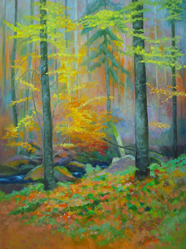 Forest Art Print featuring the painting Black Forest Stream by Dai Wynn