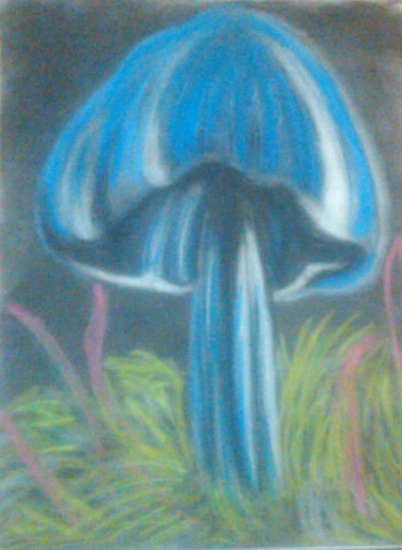 Art Print featuring the drawing Blue Shroom by Eva Jones