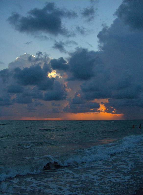 Seascape Prints Art Print featuring the photograph Blue Sunset by T C Creations
