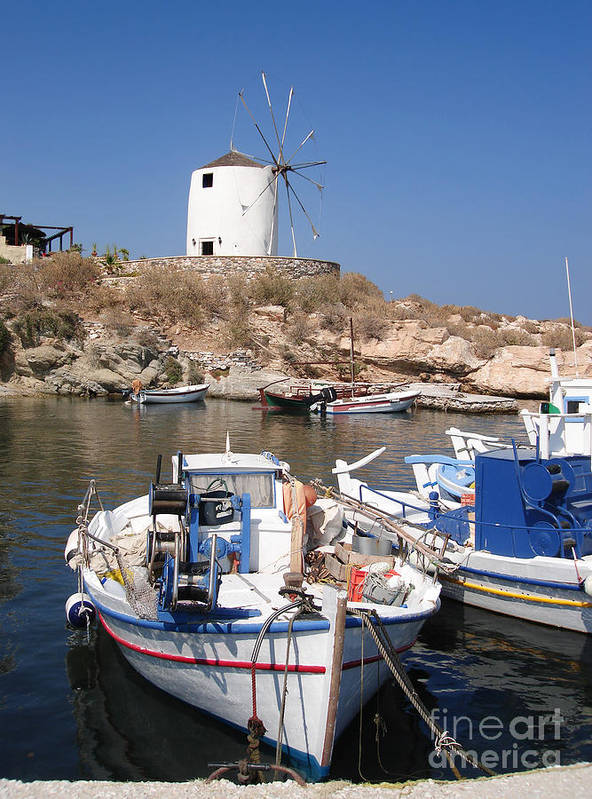Aegean Art Print featuring the photograph Boats And Windmill by Jane Rix