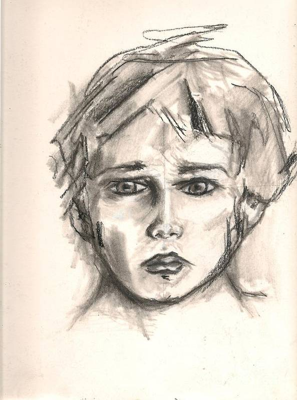 Drawing Art Print featuring the drawing Boy by Gustavo Ramirez
