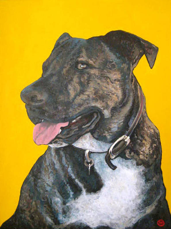 Dog Portrait Art Print featuring the painting Buddy by Tom Roderick