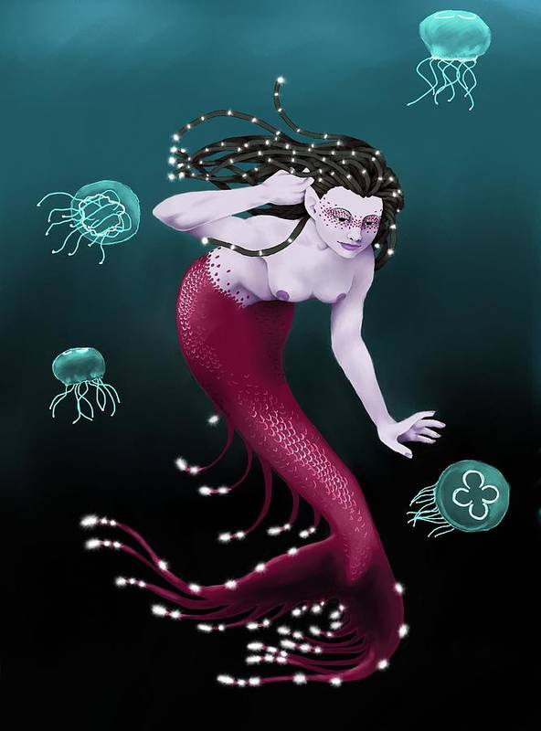 Mermaid Art Print featuring the digital art Catch Me If You Can by Laura Steelman