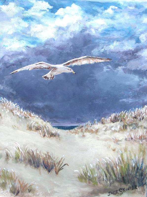 Seagull Art Print featuring the painting Cloudy With A Chance Of Seagulls by Jack Skinner