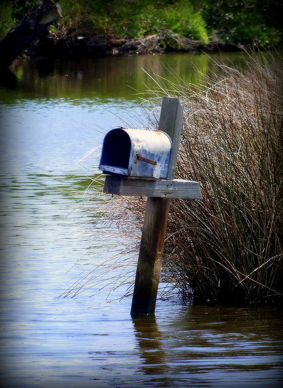 Mailbox Art Print featuring the photograph Come Rain Or Shine Or Boat by Karen Wiles