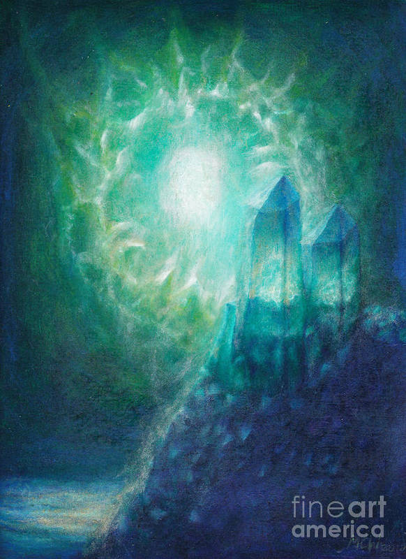 Aliens Art Print featuring the painting Crystal Cliff by Michelle Cavanaugh-Wilson