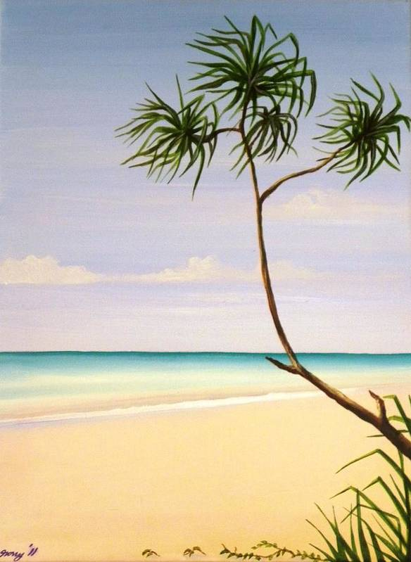 Beach Art Print featuring the painting Doum Palm by Anina von Wachtel Diani Beach Art Gallery