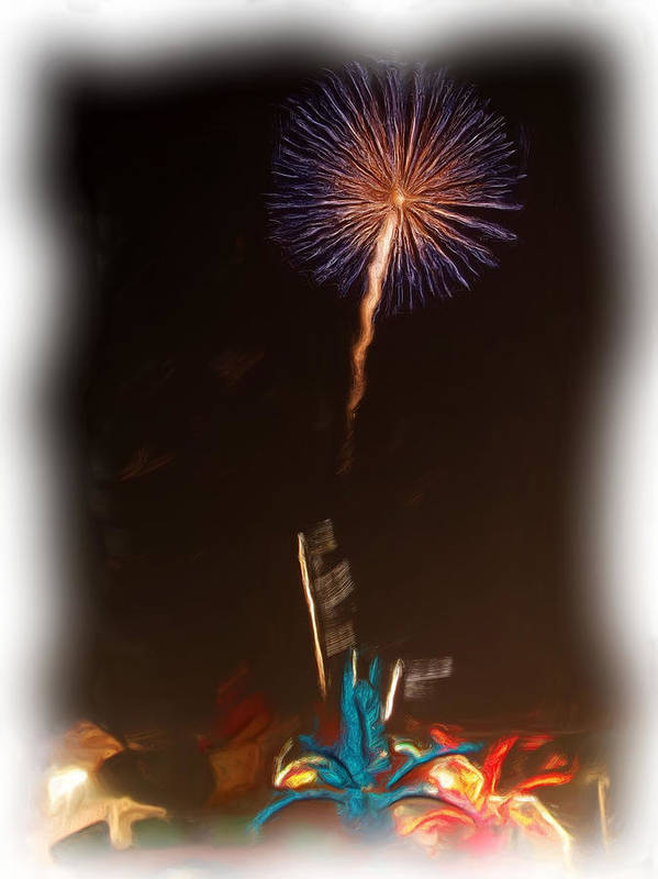 Fireworks Art Print featuring the photograph Fireworks In Oil by Thomas MacPherson Jr