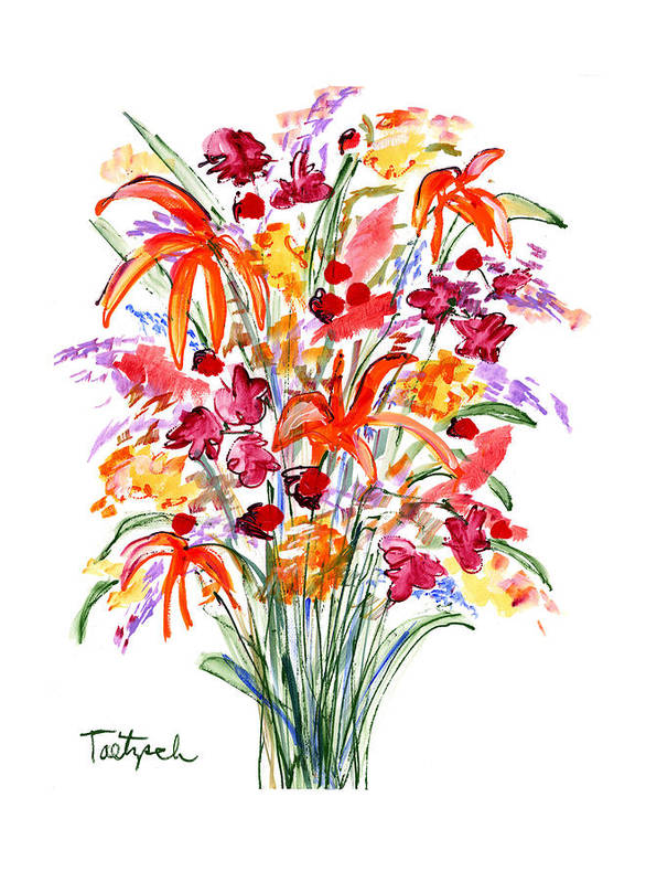 Flowers Art Print featuring the painting Floral Six by Lynne Taetzsch