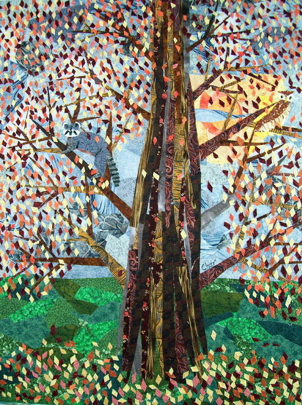 Collage Art Print featuring the tapestry - textile Full Moon In Autumn by Charlene White