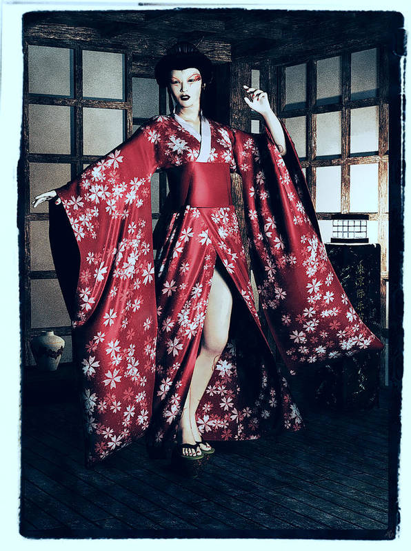 Woman Art Print featuring the painting Geisha by Maynard Ellis