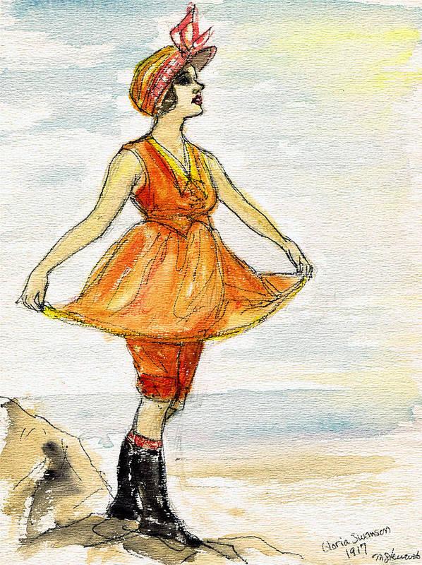 Nostalgia Art Print featuring the drawing Gloria Swanson by Mel Thompson