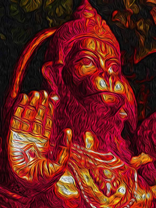 Hanuman Art Print featuring the digital art Hanuman The Monkey King by Naresh Ladhu