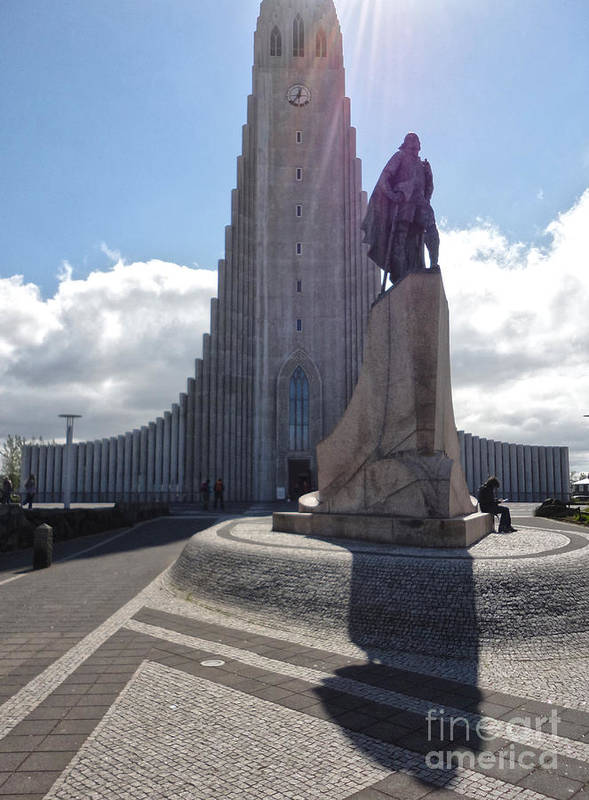 Iceland Art Print featuring the photograph Iceland Leif Erricson Statue 02 by Gregory Dyer
