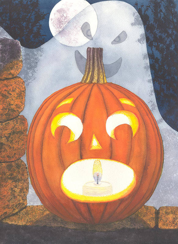 Pumpkin Print featuring the painting If I Had Legs I'd Be Running by Catherine G McElroy