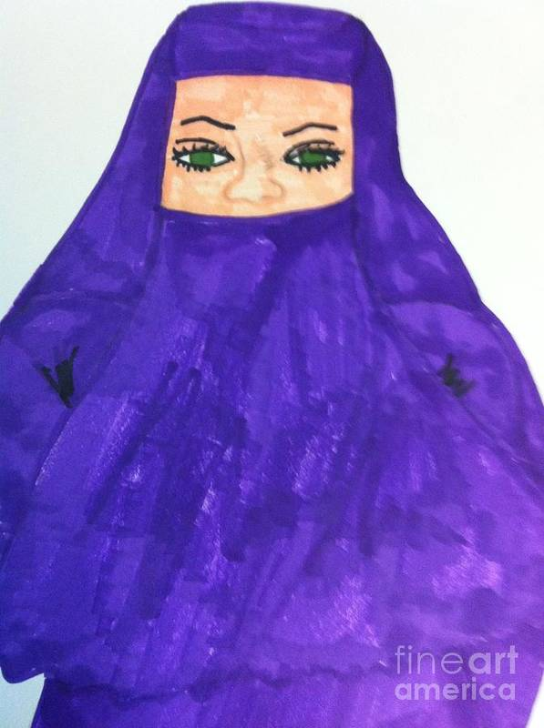 People Art Print featuring the drawing Isalm Woman by Charita Padilla