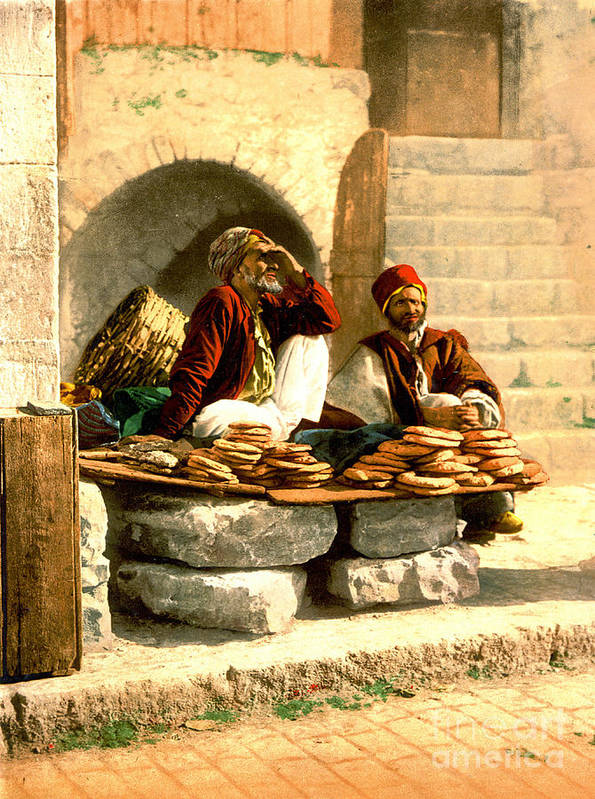 Jerusalem Bread Sellers 1895 Art Print featuring the photograph Jerusalem Bread Sellers 1895 by Padre Art