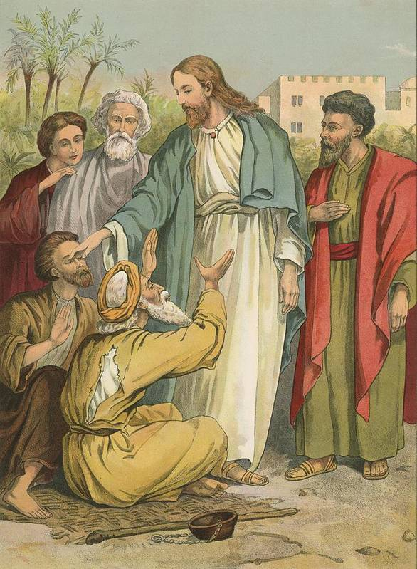 Bible; Children's; Jesus Christ; Blind Men Art Print featuring the painting Jesus And The Blind Men by English School