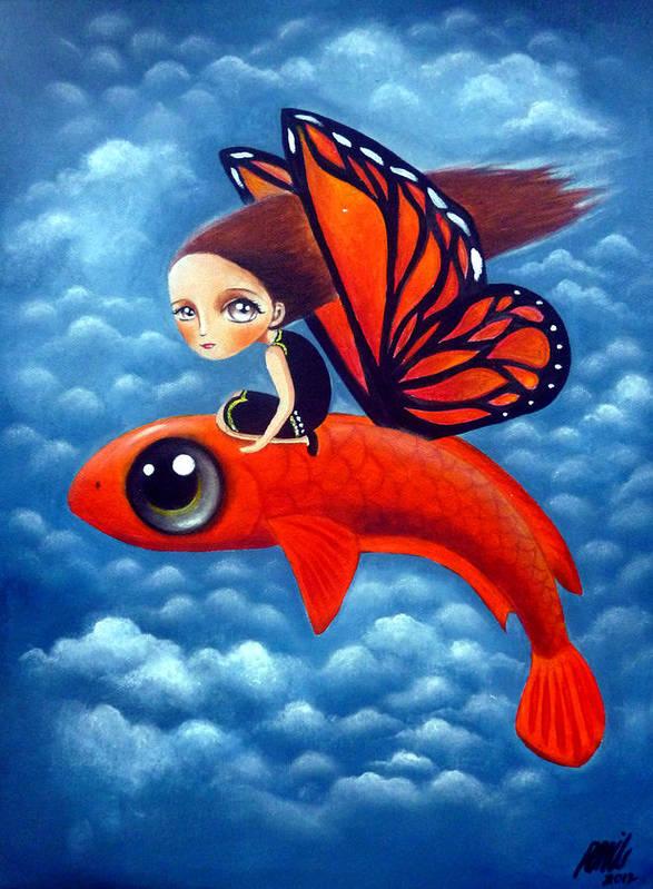Naive Art Print featuring the painting Leah Lakpu by Ramil Roscom Guerra