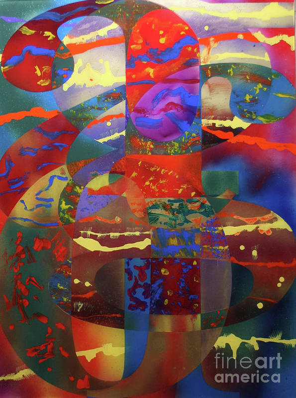 Colorful Art Print featuring the painting Letterforms 2 by Mordecai Colodner