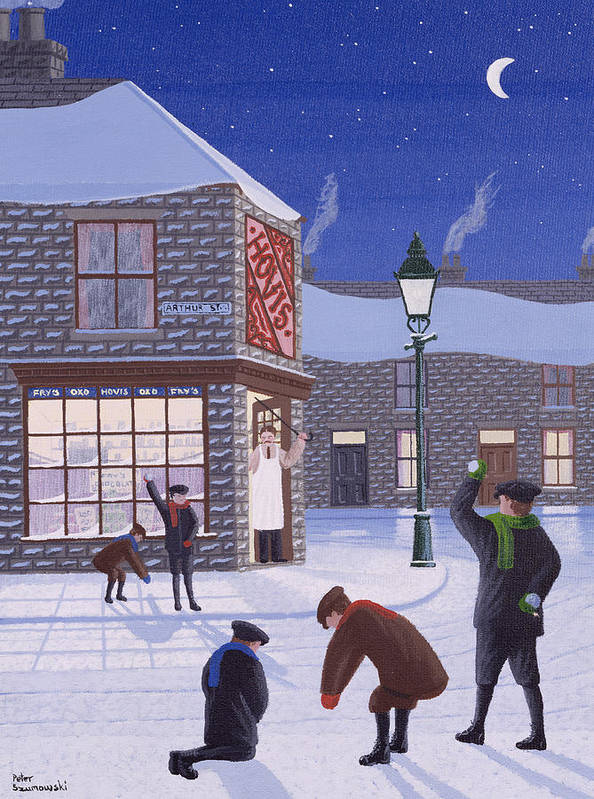 Corner Shop; Lamp Post; Moon; Snowball Fight; Shop Keeper; Hovis; Rascal; Rascals; Child; Children; Boys; Playing; Snow; Winter; Snowballing; Snowballs; Throwing; Games; Man; Angry; Cane; Street Art Print featuring the painting Little Rascals by Peter Szumowski