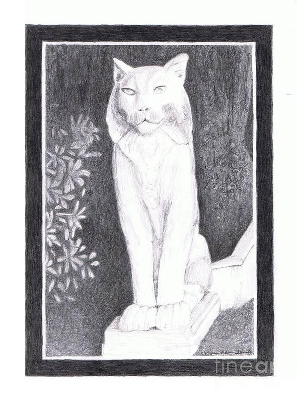 los Gatos Cat Art Print featuring the drawing Los Gatos Cat Statue Leo by Teri Naomi