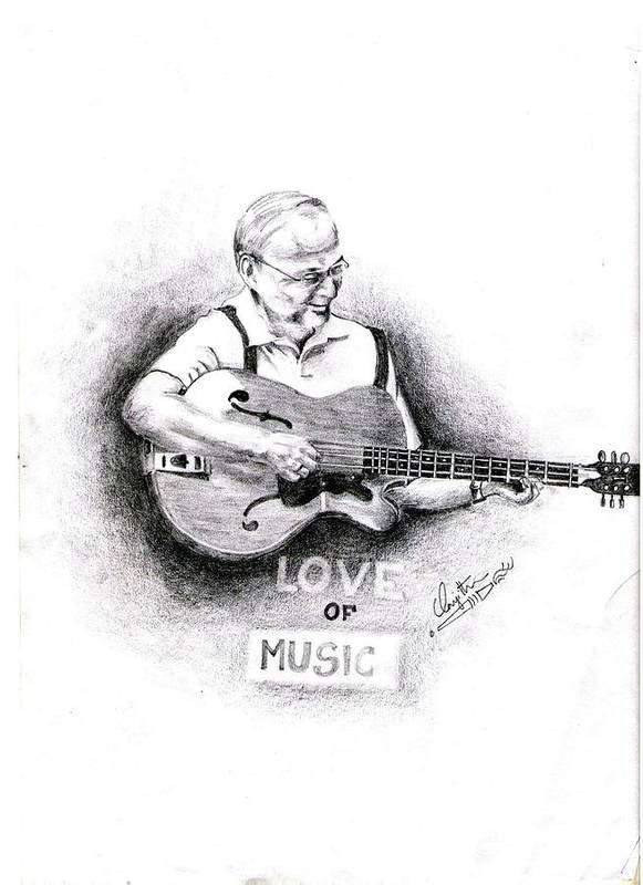 Love Art Print featuring the drawing Love Of Music by Ranjith Kp