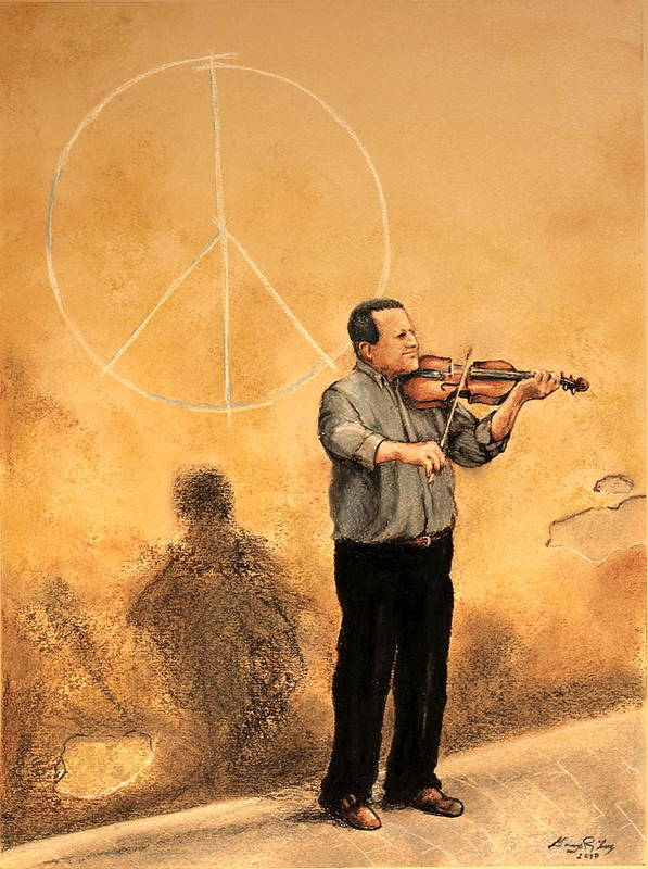 Lucca Art Print featuring the painting Luchese Street Musician by Greg Riley