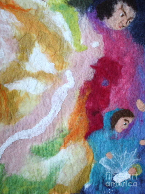 Needle Art Print featuring the tapestry - textile Lucifer And Ahriman At The Birth Of Christ by Nicole Besack
