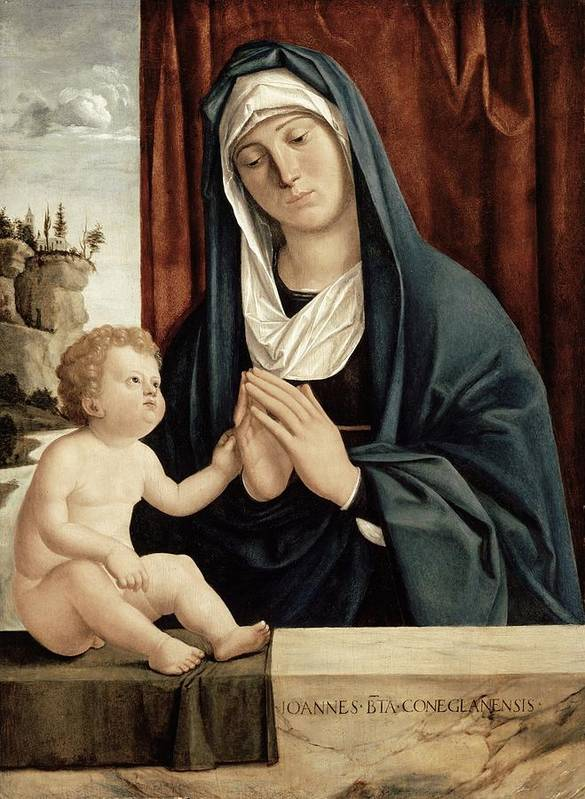 Madonna Art Print featuring the painting Madonna And Child - Late 15th To Early 16th Century by Giovanni Battista Cima da Conegliano