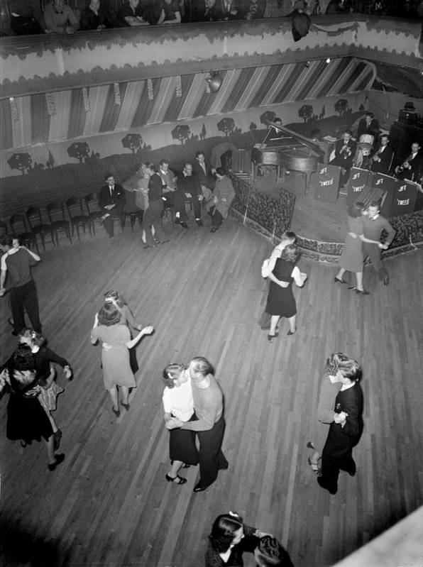1930s Candid Art Print featuring the photograph Mahers Dance Hall, Showing Orchestra by Everett
