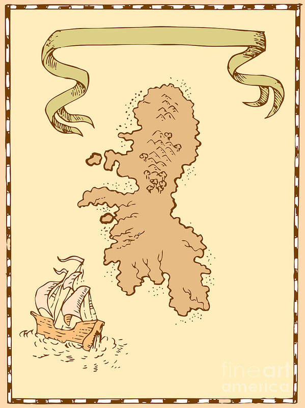 Illustration Of A Treasure Map Showing Island With Sailing Ship Galleon And Ribbon Done In Vintage Style. Art Print featuring the digital art Map Treasure Island Tall Ship by Aloysius Patrimonio