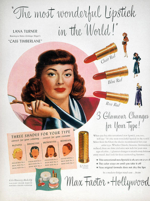 1948 Art Print featuring the photograph Max Factor Lipstick Ad by Granger