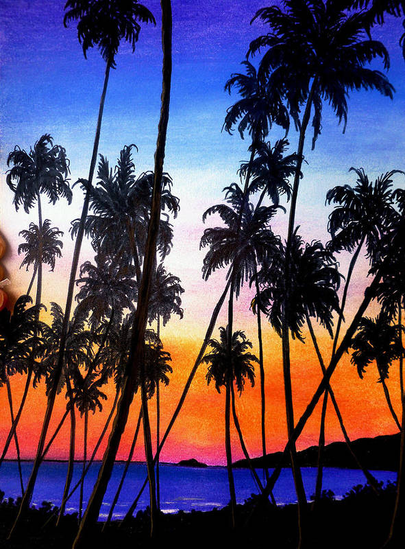 Tropical Art Print featuring the pastel Mayaro Red Dawn by Karin Dawn Kelshall- Best