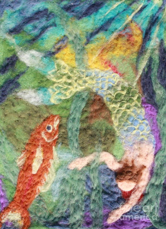 Needle Art Print featuring the tapestry - textile Mermaid And Fish by Nicole Besack