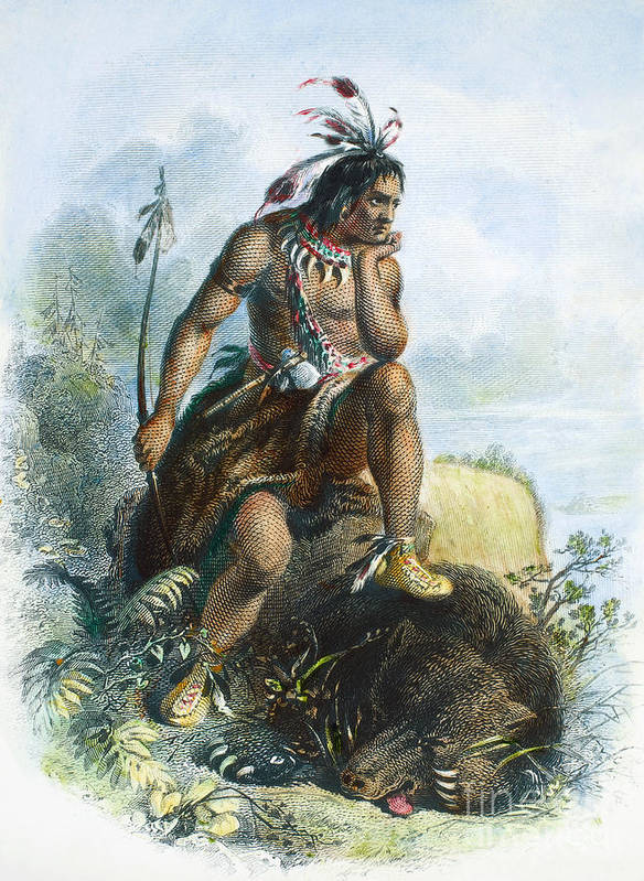 1870 Art Print featuring the photograph Native American Hunter by Granger