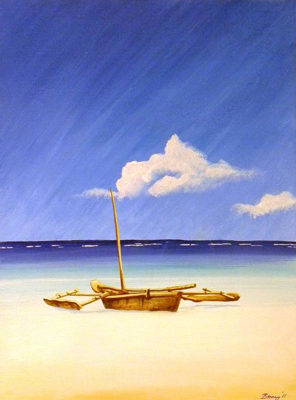 Beach Art Print featuring the painting Ngalawa And Cloud by Anina von Wachtel Diani Beach Art Gallery