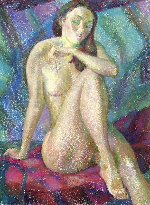 Nude Art Print featuring the painting Nu 47 by Leonid Petrushin